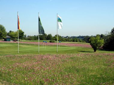 Golfcourse with flags of the Golfclub Mettmann